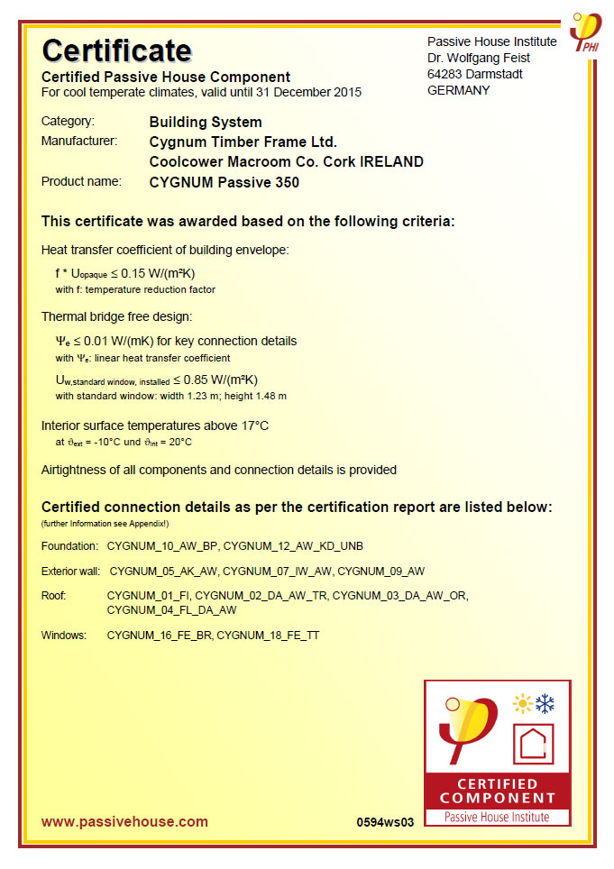 certificate passive cygnum insulation timber frame introduction ie